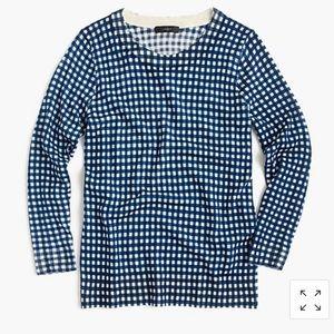 J. Crew blue gingham Tippi crewneck sweater 2136